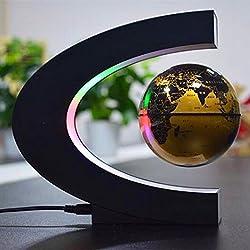 KooKen 3,5 Inch de la forma de C de la levitación magnética flotante Globo Mapa del mundo con la luz del LED (Dorado)