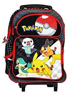 cartable a roulettes trolley pokemon nintendo noir rouge. Black Bedroom Furniture Sets. Home Design Ideas