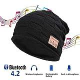 Tectri Bluetooth Beanie Winter Strickmütze mit Eingebauter Wireless Kopfhörer Hand Frei Musik hören und telefonieren Unisex Hut für Skateboardfahren Wanderung Reise - 014 Schwarz