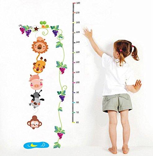Animali Grapevine vite bambini Altezza tabella di sviluppo Wall Stickers per Soggiorno Camera da letto Divano TV Sfondo Adesivi per la casa rimovibili decalcomanie