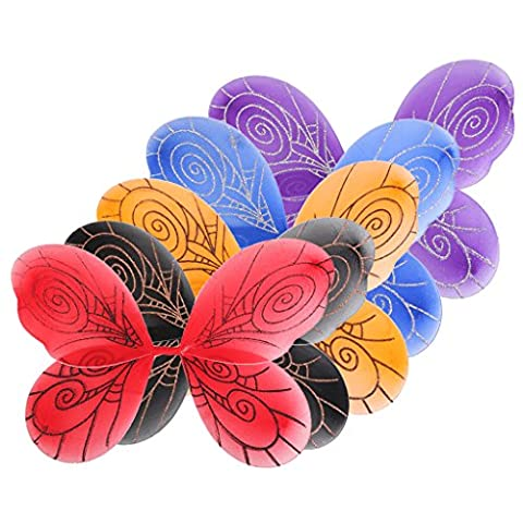 5Pcs Halloween Girls Fancy Dress up Butterfly Wings 44 x 38cm Spider Web Print