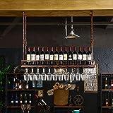 LHwine Rotwein Rack Amerikanischen Stil Rotwein Rack industriellen Wind hängen Wein Glas Halter Loft Rotwein Glas Rahmen umgedreht Wein Tasse Inhaber Weinregale (Farbe : Brown, größe : 80cm)