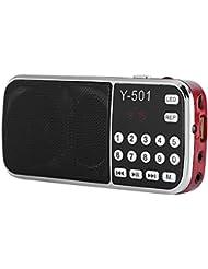Radio Estéreo con Cancelación de Ruido de Alta Sensibilidad de 78-108 MHz Radio Digital de Tarjeta TF Compatible con los Teléfonos Móviles,Tabletas, Computadoras,MP3 Con función de linterna LED(rojo)