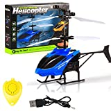 Mini Sensor Hélicoptère + Télécommande, Mamum Flying Mini RC infrarouge Induction Hélicoptère Aircraft lumière clignotante Jouets pour enfant Taille unique bleu