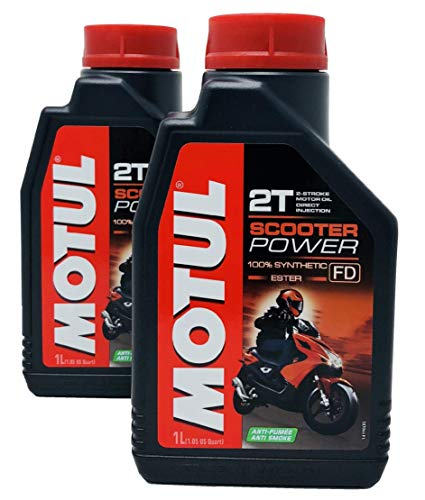 Olio Mix Motul Scooter Power 2T 100% esteri sintetici, confezione da 2 lit