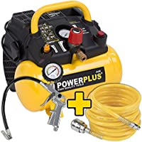 1.100 Watt Kompressor Spiralschlauch und Reifenfüller im Set - 1,5 PS, 8 bar, 6 Liter Tank - Art. Nr. POWX1721 + Zubehör