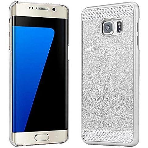 Ouneed® Case Cover Cristallo Strass Per Samsung Galaxy S7 Edge (Argento) - Pulsanti Turtle