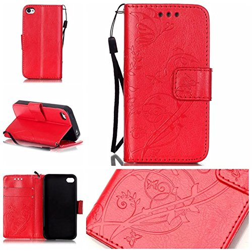iPhone Case Cover IPhone 4s 4 Case, Pattern peint couleur Wallet Style Case magnétique Flip Flip Folio Housse en cuir Coverup Housse pour IPhone 4s 4 ( Color : Blue , Size : IPhone 4s ) Red