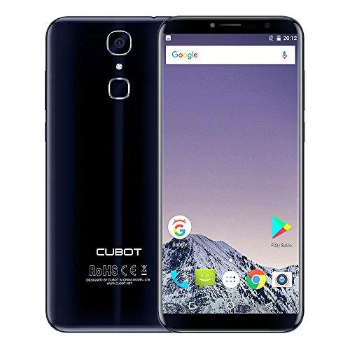 Android-handys Schöne Billige (Cubot X18 Smartphone 5.7 Zoll 18:9 Display Android 7.0 4G LTE Handy Dual micro SIM ohne Vertrag 16MP + 13MP Kamera 3GB RAM 32GB ROM MTK6737T Quad Core 3200mAh Fingerabdrucksensor WiFi GPS, Schwarz Blau)