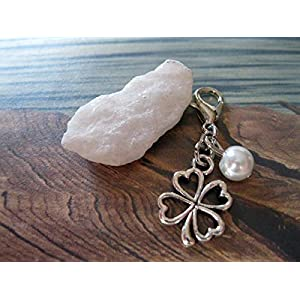 Handmade Anhänger/Charm Kleeblatt, Perle Weiß- Perlen Farbe und Größe frei wählbar