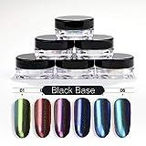 Saint-Acior 6 Boîtes Poudre Holographique Arc-En-Neon Chameleon Miroir Effet pour décoration d'ongles Nail Art Pigment Glitter Kit + 6 Pcs Brosse Fard À Paupières