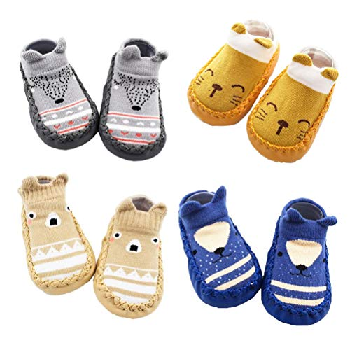 XM-Amigo 4 Pairs of Baby Boys Girls Indoor Pre-Walker Shoes Slippers Anti-Slip Shoes Socks