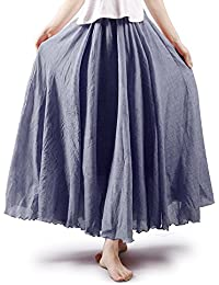 71c7d495e6a5 OCHENTA Women s Bohemian Style Elastic Waist Band Cotton Long Maxi Skirt