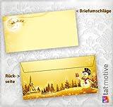Briefumschläge Weihnachten Schneemann 50 Stück DIN lang ohne Fenster, wunderschöne Kuverts goldgelb mit Weihnachtslandschaft und em Schneemann (auch passendes Briefpapier erhältlich)
