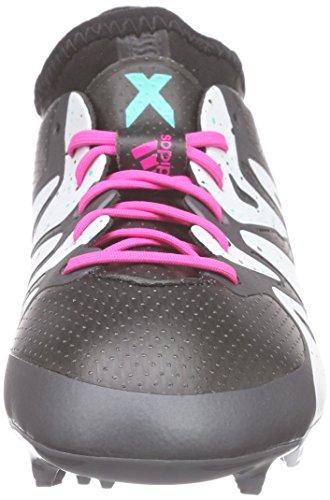 adidas X 15.1 Fg/Ag, Scarpe da Calcio Unisex – Bambini Nero (Core Black/Shock Mint S16/Ftwr White)