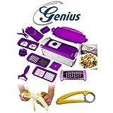 Genius Nicer Dicer Plus, Multischneider, 14 teiliges Set Lila/Gelb mit Bananenschneider