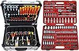 FAMEX 414-20 Alu Werkzeugkoffer gefüllt mit TOP Werkzeug und 174-tlg. Steckschlüsselsatz