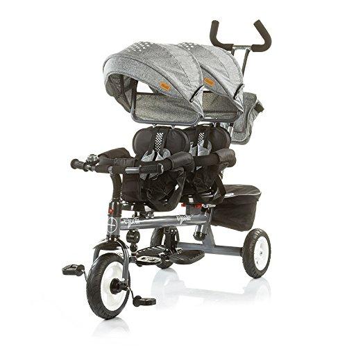 Chipolino Tricycle Dreirad Apollo für Zwillinge mit Lenkstange, Sonnendach, Korb (Grau)