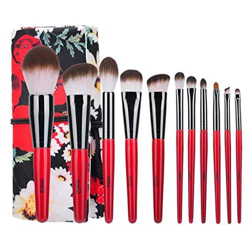 NIUYUKE Make-up-Pinsel Advanced Kabuki Cosmetic Tool Augenbraue Lippen Lidschatten Foundation Brush Elegant (11 Stück, Rot Schwarz)
