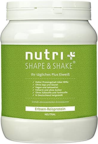 Nutri-Plus Shape & Shake Soy/Soya free - Gluten free - Vegan Pea-Rice-Protein without sweeteners & lactose - Neutral