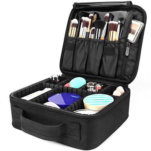 AMASAVA Kosmetiktasche mit abnehmbaren Trennwänden Kosmetische Aufbewahrungstasche Make-up-Set Beauty Case für Make-up Pinsel Nagellack ect Schwarz 26,5 * 11,5 * 23,5 cm