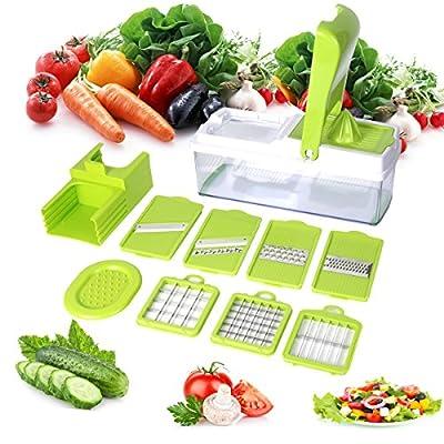 Duomishu Mandoline multifonction 9 en 1 professionnelle couteau de cuisine couper hacher pour legumes fruits coupe rapidement et uniformément facile à nettoyer