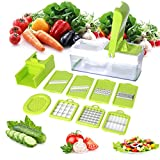 Mandoline 10 in 1 Food Cutter Slicer and shredder - Slices and Shreds Fruits and Vegetables Chopper, Food Container, Safety Food Holder, All-in-One Vegetable Cutter& Julienne Slicer Vegetable Slicer, Fruit and Cheese Cutter & Grater for Slicing, Dicing, Grating, Chopping, Cutting and Peeling - By Duomishu