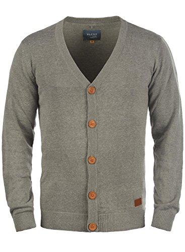BLEND 703656ME Cardigan, Größe:M;Farbe:Zink Mix (70815) - Gerippt Wolle Blend
