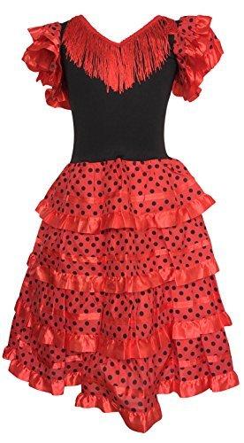 La Senorita Spanische Flamenco Kleid / Kostüm - für Mädchen / Kinder - Rot / Schwarz (Größe 92-98 - Länge 65 cm- 3-4 Jahr, Mehrfarbig)