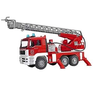 bruder 02771 camion de pompier man rouge avec chelle pompe a eau et module son et lumi re. Black Bedroom Furniture Sets. Home Design Ideas