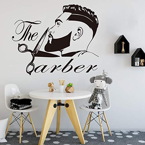 JXTK Friseur Männer Bart Frisur Salon Wand Fenster Aufkleber Grooming Fashion Friseur Haarschnitt Friseur Wandaufkleber Vinyl56X46CM