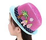 LAAT Chapeau de Soleil Plage Anti-UV Solaire d'été Chapeau de Paille pour Fille Garçon Enfant Bébé Protection Soleil Voyage Plage (Rose Vif)