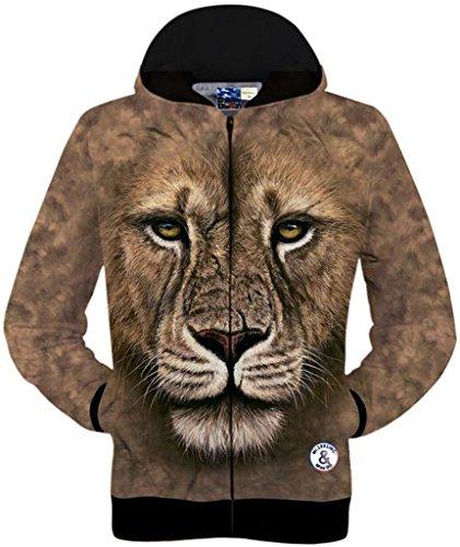Pizoff Unisex Hip Hop Kapuzenjacken mit Tier 3D Digital Print mit Reißverschluss Beuteltaschen tier lion loewen Y1765-08-M (Lion Jacke Kinder)