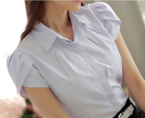 Putao World Damen-Shirt aus Baumwolle, geknöpft, Kurzarm Plissee-Bluse Königsblau