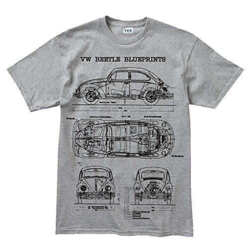 Camiseta de manga corta, diseño de coche escarabajo clásico gris gris XXXX-Large