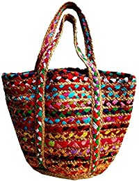 The Indian Handicraft Store Presents Unique And Colourful Jute Rope Hand Bag In Regular Size (18''L*12''H*10''W)