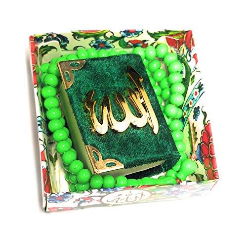 MINI Kücük KURAN I KERIM KORAN (grün, Maße 2,5x4,5x5,5cm) und tesbih Rosenkranz/ mit Samt- Bezug - Cover/ Relief-Schriftzug/ Allah Islam Nazar Cevsen Kuran Qoran Quran