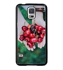 PrintVisa Designer Back Case Cover for Samsung Galaxy S5 :: Samsung Galaxy S5 G900I :: Samsung Galaxy S5 G900A G900F G900I G900M G900T G900W8 G900K (Lady Lending Hands With Red Cherrys )