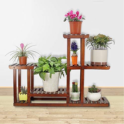 GYAO-étagères à fleurs Plancher de fleurs en bois massif Intérieur multicouche pliant support de fleurs Balcon Salon Pot Rack taille marron: 95x41x71cm