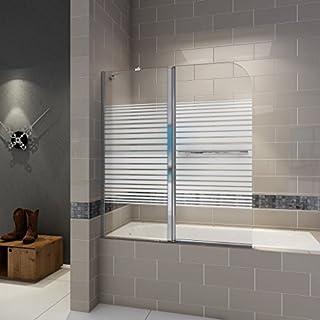 120x140cm Duschabtrennung Badewanne 2 tlg. Faltwand Duschwand Links (B2B-HE12-S-L)