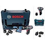 Bosch GSR 12V-15 FC Professional FlexiClick Akku Bohrschrauber mit 3 tlg. Aufsätze - Set in L-Boxx