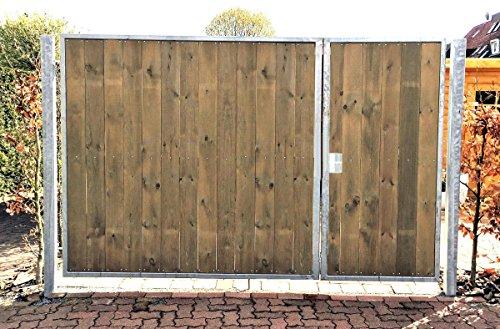 Einfahrtstor / Einbaubreite 300 cm / Einbauhöhe 180 cm / Hochwertiges 2-flügeliges asymmetrisch geteiltes Tor / Aufteilung: 1,0 m + 2,0 m / Verzinkt mit Holzfüllung / Holz Tor Gartentor Hoftor