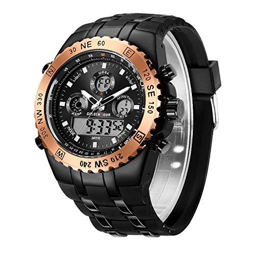 Cheetah Herren Chronograph Sportuhr Digital Analog Kompass Armbanduhr Wasserdicht Datum Hintergrundbeleuchtung Militär Uhren für Herren