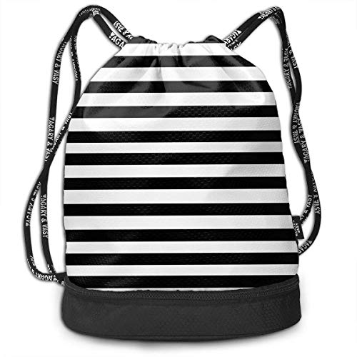DHNKW Black and White Mosaic Vertical Stripes Drawstring Bag for Men & Women - Cinch Backpack Sackpack Tote Sack with Wet & Dry Compartments for Travel Hiking Gym -