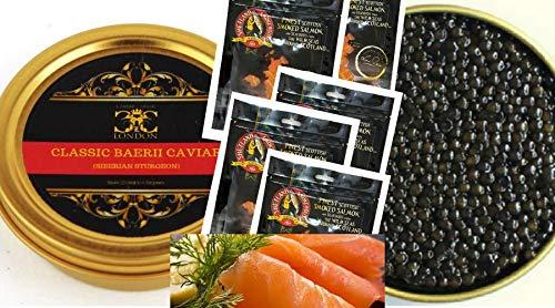 250 gr di caviale classico baerii v (storione siberiano) e 500 gr di salmone scozzese affumicato.consegna gratuita