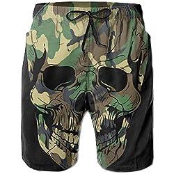 wwoman camo skull pantalones cortos de surf de playa para hombre