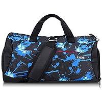 X-Mile Bolso de Viaje Bolsa Deporte Hombre Impermeable con Compartimiento de Zapatos Separados para Viajes Yoga Fitness Natación Azul y Negro 22.0 × 9.8 × 10.2 Pulgadas