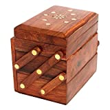 CraftatozWomen's Handmade Wooden Jewellery/Storage Box/Organizers Box/Multipurpose Holder Gifts Item Home Decor, 4.5x3.5x5.5 Inches(Brown, box103)