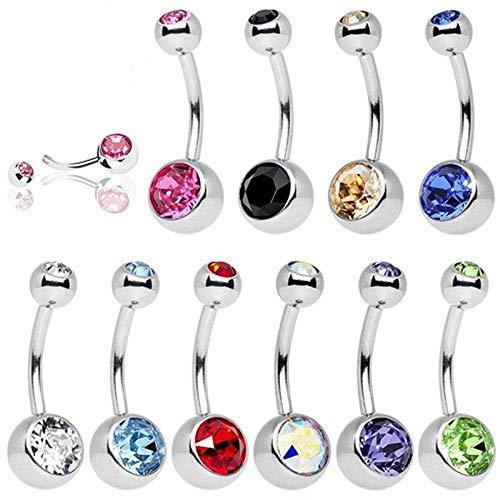 10 Stück Nabelpiercing Titan Edelstahl Geschenkbox UWILD Bauchnabelpiercing Bauchnabel Piercing Kristall Glas Glänzende Schmuck Bogen-Diamant-Nabel-Ring-Bauch (Rote Diamant-ring Weiss-gold)