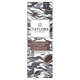 Taylors of Harrogate Cacao Superior Colombia Nespresso Compatible Coffee Capsules, 10 capsules (Pack of 6, Total 60 coffee pods)
